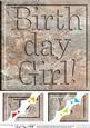 8 x 8 Birthday Girl Set in Stone Scalloped Corner Topper