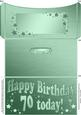 70th Birthday Metallic Age Money or Gift Wallet and Card