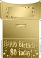 80th Birthday Metallic Age Money or Gift Wallet and Card