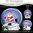 3D Xmas Skating Santa Snowglobe Circle Pyramage Card Kit