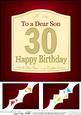8 x 8 30th Birthday Son Wine Label Scalloped Corner Topper