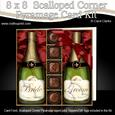 8 x 8 Bride N Groom Champers N Chocs Scalloped Corner Kit
