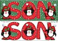 Large Dl Xmas Son with Penguins Quick Card N Decoupage