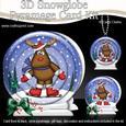 3D Xmas Skating Rudolph Snowglobe Circle Pyramage Card
