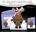3D Xmas Rudolph Shaped Card with Decoupage