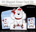 3D Xmas Sledging Polar Bear Shaped Card with Decoupage