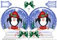 Xmas Skiing Penguin Snow Globe Shaped Card