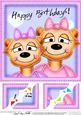 8 x 8 Meerkat's Birthday Scalloped Corner Topper