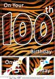 8 x 8 Fun Zebra Striped 100th Birthday Scalloped Topper