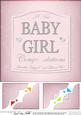8 x 8 New Baby Girl Pink Champers Label Scalloped Corner