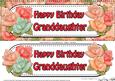 Large Dl Birthday Granddaughter Roses Card & 3D Decoupage