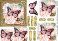 Pastel Flowers & Butterfly Round Edged Pyramage & Decoupage