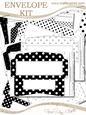 10 Mini Dl (80 x 215mm) Black & White Dots Envelope Kit