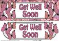 Large Dl Get Well Soon Butterflies Card & 3D Decoupage