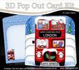 3D Xmas Santa Express London Pop Out Card Kit