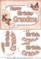 A5 Birthday Grandma Butterflies & Flowers Oval Pyramage