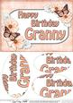A5 Birthday Granny Butterflies & Flowers Oval Pyramage