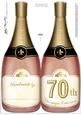 Large Dl 70th Champagne Bottle Shaped Card
