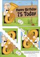 5x7 75th Birthday Bert Plays the Tuba Scallop Corner