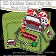 3D Mini Car Rubber Band Pop Up Box Card