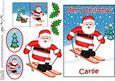 Christmas Carlie Skiing Santa 5x7 3D Decoupage