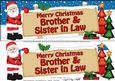 Lge Dl Xmas Brother & Sister in Law Santa Signpost Decoupage