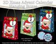 3D Teddy Xmas Hanging Advent Calendar Box Kit