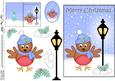 5x7 Christmas Cute Robin Lamp Post 3D Decoupage