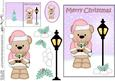 Christmas Cute Livvy Bear Lamp Post 5x7 3D Decoupage