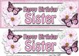 Large Dl Birthday Sister Floral Butterflies 3D Decoupage