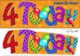 Large Dl 4th Birthday Celebrations Card & 3D Decoupage