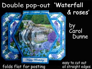 3D Double Pop-out - Waterfall and Roses
