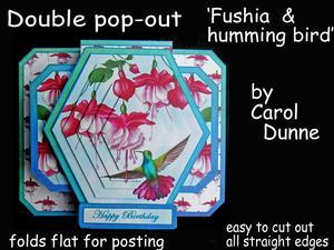3D Double Pop-out - Fushia & Humming Bird
