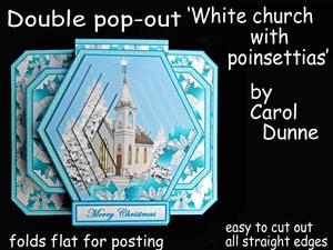 3D Double Pop-out - White Church & Poinsettias
