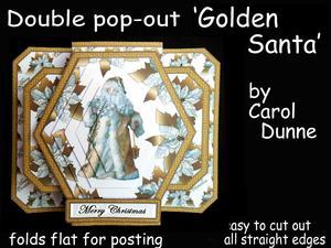 3D Double Pop-out - Golden Santa