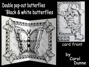 Double Pop-out Butterfly - Black and White