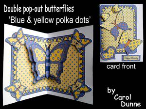 Double Pop-out Butterfly - Blue & Yellow Polka Dots