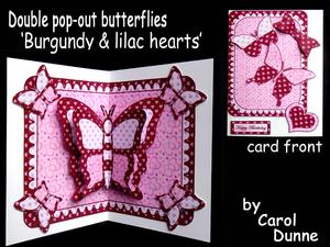 Double Pop-out Butterfly - Burgundy and Lilac Hearts