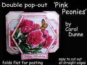3D Double Pop-out - Pink Peonies