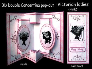 3D Concertina Pop-out - Victorian Ladies (pink)