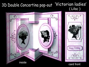 3D Concertina Pop-out - Victorian Ladies (lilac)