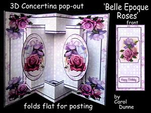 3D Concertina Pop-out - Belle Epoque Roses