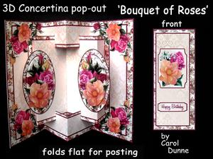 3D Concertina Pop-out - Bouquet of Roses