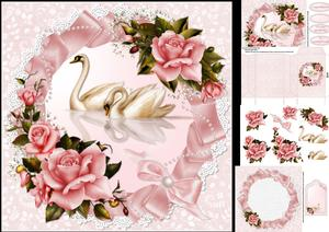 8x8 Swans and Roses Anniversary Mini Kit