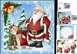 8x8 Santa with Elf Checking the List Mini Kit