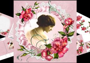 8x8 Vintage Lady with Roses Mini Kit