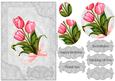Pink Tulip Floral Card Front with Pyramage