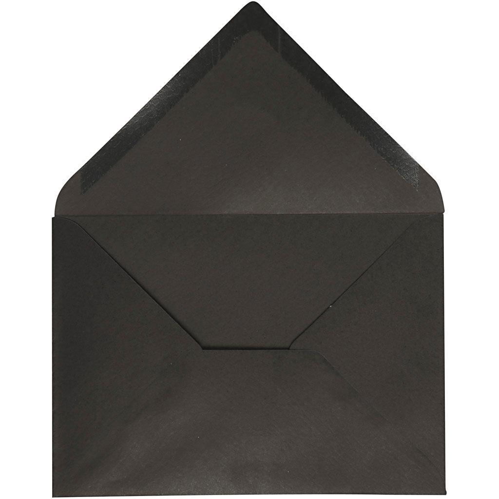 envelope  size 11 5x16 cm  black  10 pcs