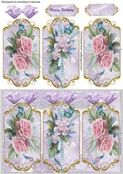 Lovely Trio of Pink Roses (triptych )