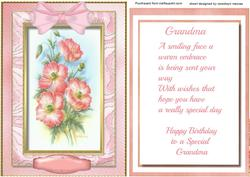 Grandma Birthday Topper and Verse ,